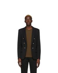 Мужской черный двубортный пиджак от Balmain