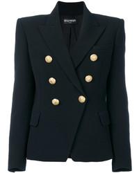 Женский черный двубортный пиджак от Balmain