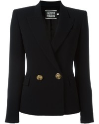 Женский черный двубортный пиджак от Fausto Puglisi
