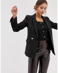 Женский черный двубортный пиджак от Miss Selfridge