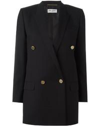 Женский черный двубортный пиджак от Saint Laurent