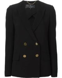 Женский черный двубортный пиджак от Salvatore Ferragamo