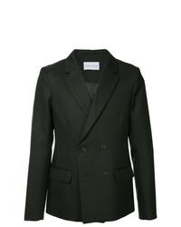 Мужской черный двубортный пиджак от Strateas Carlucci
