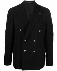 Мужской черный двубортный пиджак от Tagliatore