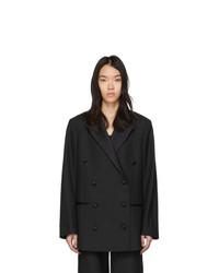 Женский черный двубортный пиджак от Totême