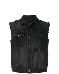 Черный джинсовый жилет