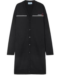 Черный длинный кардиган от Prada