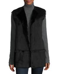 Женский черный жилет из овчины от Neiman Marcus