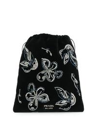 Черный замшевый клатч с украшением от Prada