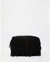 Черный замшевый клатч c бахромой от Asos