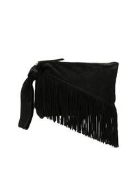 Черный замшевый клатч c бахромой от Isabel Marant
