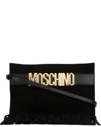 Черный замшевый клатч c бахромой от Moschino