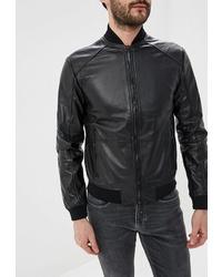 Мужской черный кожаный бомбер от Armani Exchange