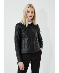Женский черный кожаный бомбер от Armani Exchange