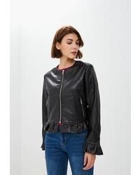 Женский черный кожаный бомбер от Code
