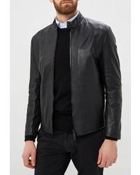 Мужской черный кожаный бомбер от Emporio Armani