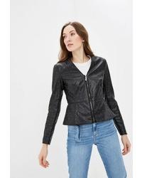 Женский черный кожаный бомбер от Guess Jeans