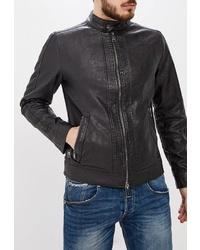 Мужской черный кожаный бомбер от Guess Jeans