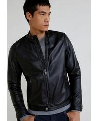Мужской черный кожаный бомбер от Mango Man