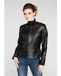 Женский черный кожаный бомбер от Mondial