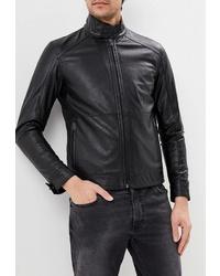 Мужской черный кожаный бомбер от Sisley