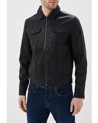 Мужской черный кожаный бомбер от Solid