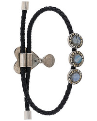 Черный кожаный браслет с украшением от Alexander McQueen
