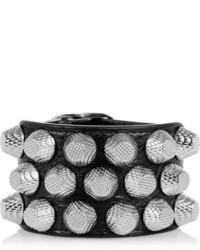 Черный кожаный браслет с шипами