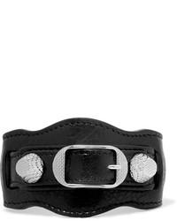 Женский черный кожаный браслет с шипами от Balenciaga