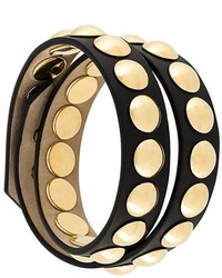 Женский черный кожаный браслет с шипами от Burberry