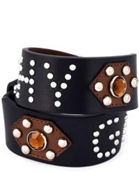 Женский черный кожаный браслет с шипами от Givenchy