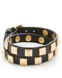 Черный кожаный браслет с шипами от Rebecca Minkoff