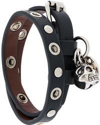 Черный кожаный браслет от Alexander McQueen