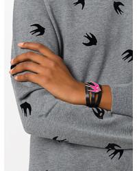 Черный кожаный браслет от MCQ
