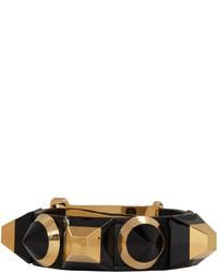 Черный кожаный браслет от Fendi