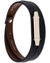 Черный кожаный браслет от Givenchy
