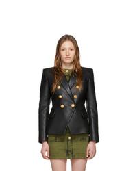 Женский черный кожаный двубортный пиджак от Balmain