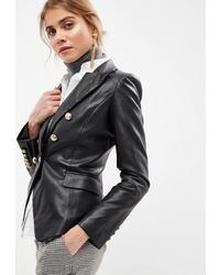 Женский черный кожаный двубортный пиджак от Guess Jeans