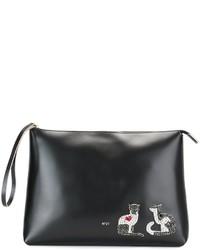 Женский черный кожаный клатч с украшением от No.21
