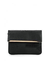 Женский черный кожаный клатч от Warehouse