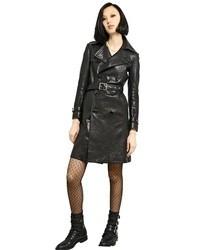 Женский черный кожаный плащ от Saint Laurent