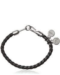 Черный кожаный плетеный браслет