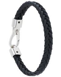 Мужской черный кожаный плетеный браслет от Tod's