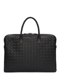 Черный кожаный плетеный портфель от Bottega Veneta