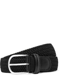 Мужской черный кожаный плетеный ремень от Andersons
