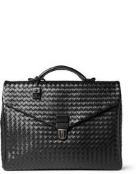 Черный кожаный портфель от Bottega Veneta