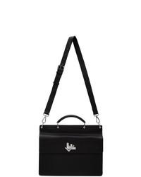 Черный кожаный портфель от Fendi