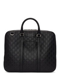 Черный кожаный портфель от Gucci