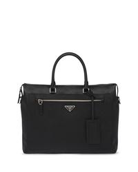Черный кожаный портфель от Prada