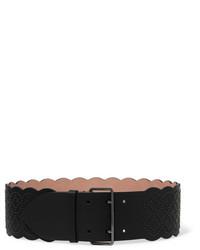 Женский черный кожаный пояс с украшением от Alaia